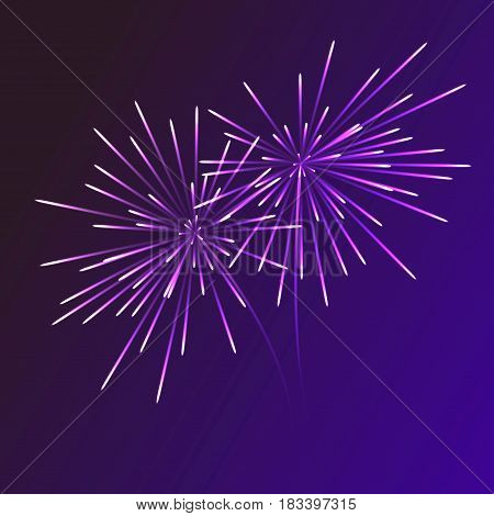 Abstract blue fireworks explosion on transparent background. New Year celebration fireworks. Holiday fireworks on dark background