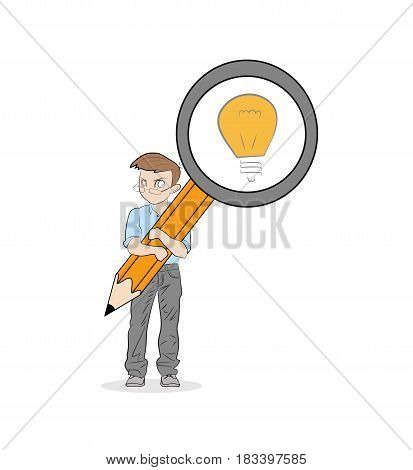 The little man is holding a magnifying glass. Light as a reflection of the idea. vector illustration.