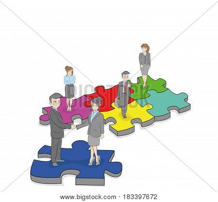 Group of business people standing on the pieces of a puzzle. Business concept. teamwork. vector illustration.