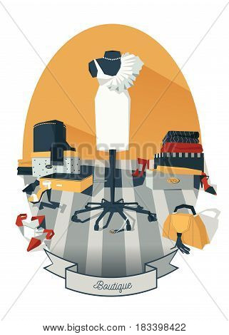 Vertical vector illustration with interior of woman wardrobe with dress on mannequin hand drawn with black and white graphic. Stylish fashion room with mess of shoes boxes bijouterie and clothing.