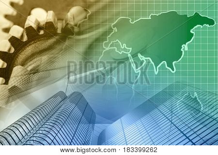 Business background with map gear and buildings toned.