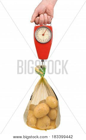 Hand Holding A Spring Scale With A Bag Of Potatoes Isolated On White