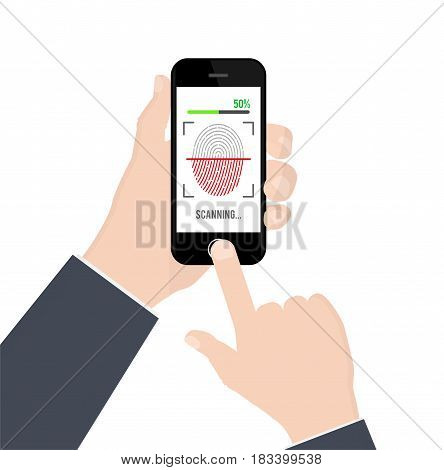 Fingerprint identification or authentication on smartphone isolated on white background. Vector illustration