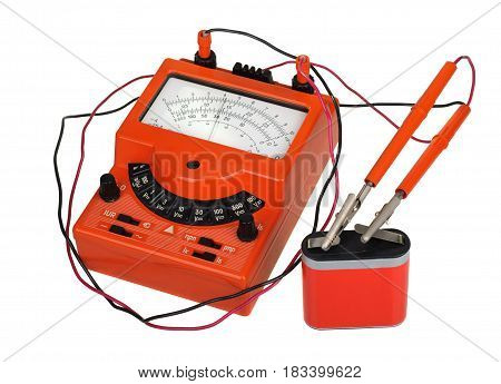 Analog Vintage Multimeter With Battery Isolated On White
