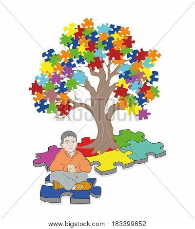 child sitting under a tree. Puzzle Pieces in Autism Awareness Colors Background, 3D rendering