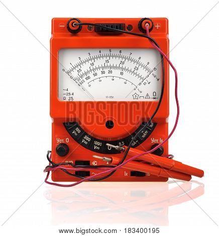Analog Vintage Multimeter Isolated On White