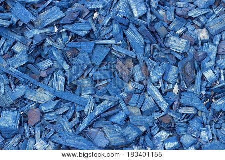 Blue Wood Chips Texture, Wooden Decorative Background.