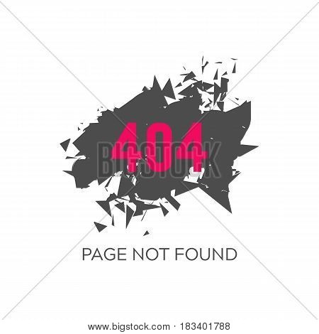 Error 404 page not found. Abstract background flashes into small particles