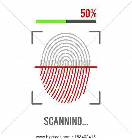 Fingerprint scanning icon isolated on white background. Biometric authorization symbol. Vector illustration