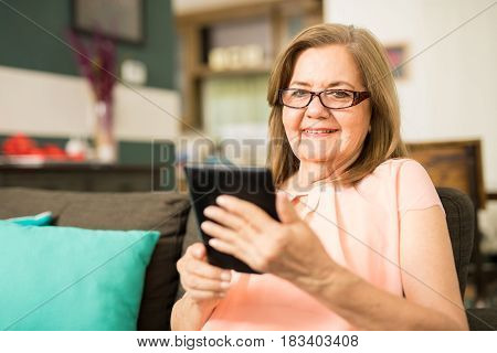 Aged Grandmother With An Ebook