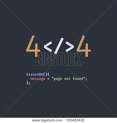 Error 404 page not found. The inscription in the form of program code. Stylized as a text editor for web programming.