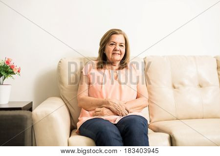 Elder Woman With Stomachache