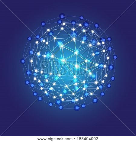 Blue shining cosmic grid shining sphere vector concept