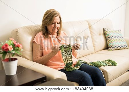 Senior Adult Woman Doing Some Knitting