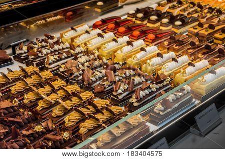Belgium confectionery cake shop in Brussels Belgium