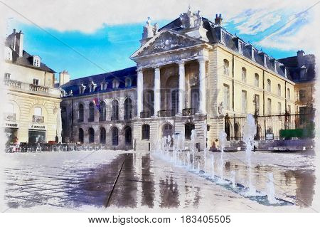 Colorful painting of Dukes of Burgundy's Palace, Dijon, France