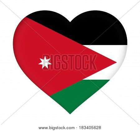Illustration of the flag of Jordan shaped like a heart.
