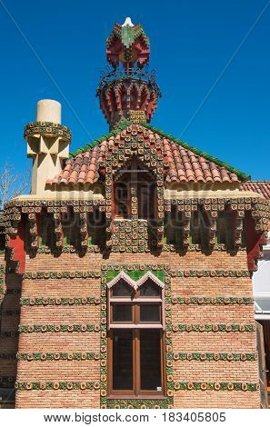Comillas Spain - April 19 2017: Palace of El Capricho or Villa Quijano designed by the architect Gaudi in modernist style in Comillas Cantabria Spain