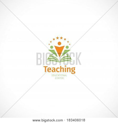 Isolated abstract green and orange color open book with people silhouettes logo, education symbol with word teaching on white background vector illustration.