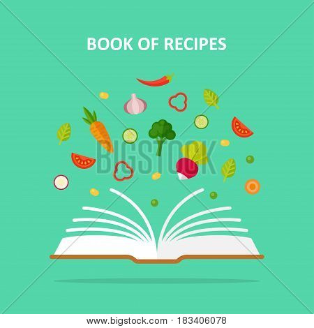 Book of recipes vector concept illustration. Vegetarianism, vegetable diet, healthy eating. Home book with recipes, cookbook.