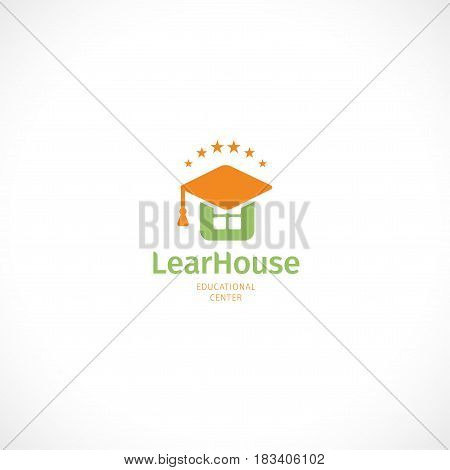 Isolated abstract orange and green color graduate hat logo, stylized mortarboard, house logotype on white background.