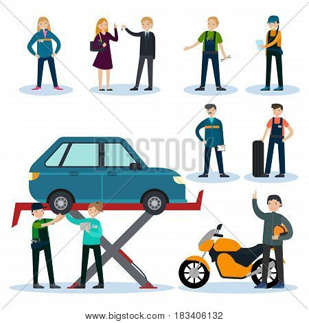 People in car repair service set with professional workers mechanics clients and customers isolated vector illustration