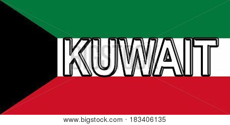 Illustration of the flag of Kuwait with the country written on the flag.