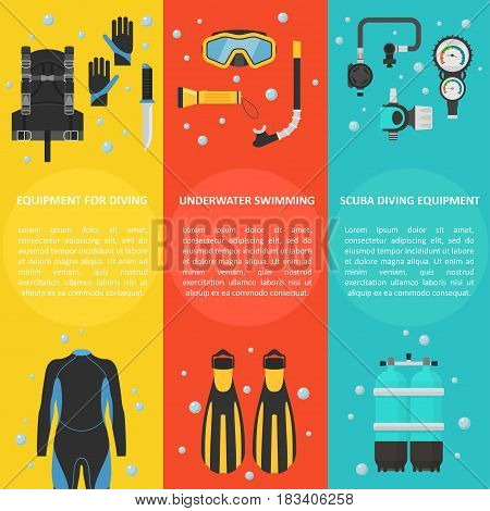 Scuba diving with a vertical banner. Equipment for diving and snorkeling in flat style. Diving swimming template background with space for text.