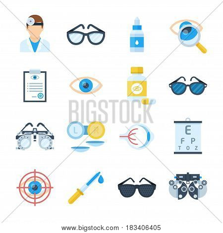 Ophthalmologist equipment vector icons in a flat style. Treatment and correction of vision. Clinical tests and eye examinations by an oculist.