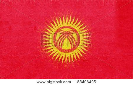 Flag Of Kyrgyzstan Grunge.