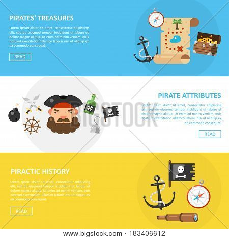 Pirate treasures and sea adventures vector banners in a flat style. A set of horizontal banners with pirate attributes.