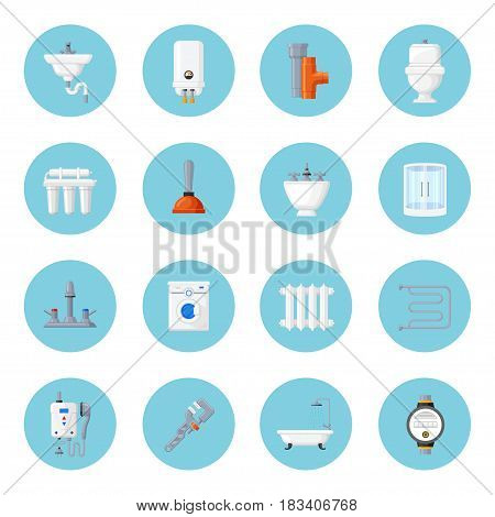 Plumbing and heating home equipment. Sink, toilet bowl, bath and pipes with tools. Plumbing and device for bathroom and toilet flat icons.