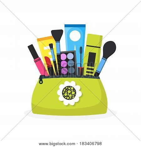 Female cosmetic bag. Modern flat design of girl's things. Female objects. Eye shadow brushes skin care cream lipstick. Vector illustration isolated on white.