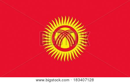 Illustration of the national flag of Kyrgyzstan