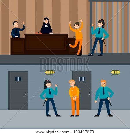 Judicial system horizontal banners with people in court session police officers and defendant near prison cell vector illustration