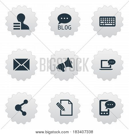 Vector Illustration Set Of Simple Blogging Icons. Elements Post, Document, Keypad And Other Synonyms Post, Speaker And Relation.