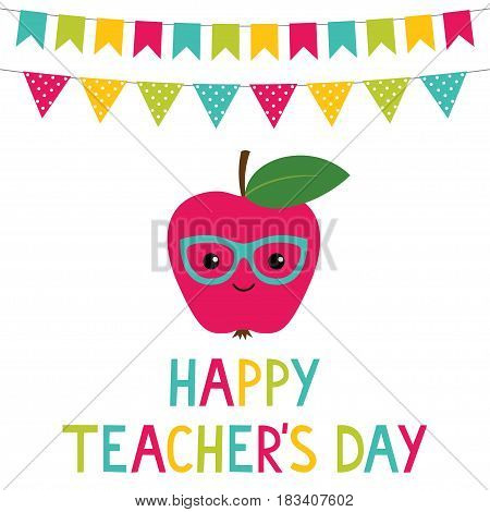 Happy Teacher's Day card with an apple and decoration