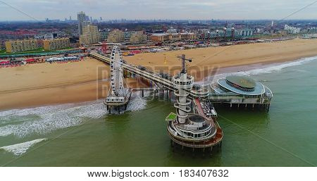 aerial shot of the peer at scheveningen The hague.