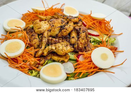 close up of a healthy chicken salad