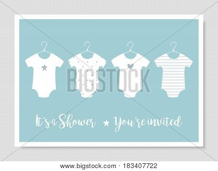 Baby Body Suits Clothes on Hangers. Pastel Baby Announcements and Shower Vector Cards