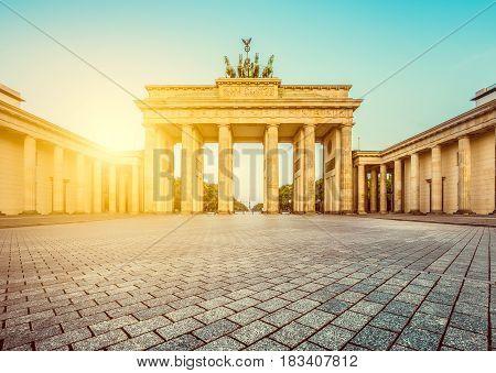 Brandenburg Gate At Sunrise, Berlin, Germany Sunrise, Berlin, Germany