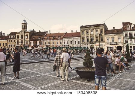 Brasov, Romania - June 27, 2011: Council Square in the city of Brasov