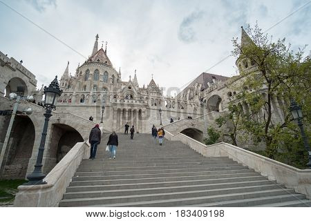 Budapest Hungary - 16 April 2017 : People around the entrance of Fisherman's Bastion at the heart of Buda's Castle District.