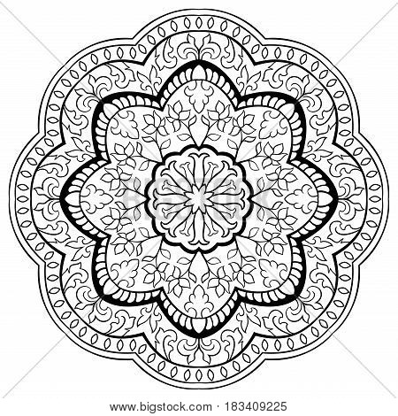 Vector mandala with floral elements on white background. Oriental ethnic ornament. Design element.