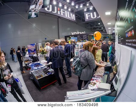MOSCOW RUSSIA - APRIL 21 2017: Booth of Fujifilm company at PhotoForum 2017 trade show and exhibition in Moscow Russia on April 21 2017.