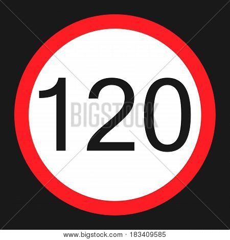 Maximum speed limit 120 flat icon, Traffic and road sign, vector graphics, a solid pattern on a black background, eps 10.