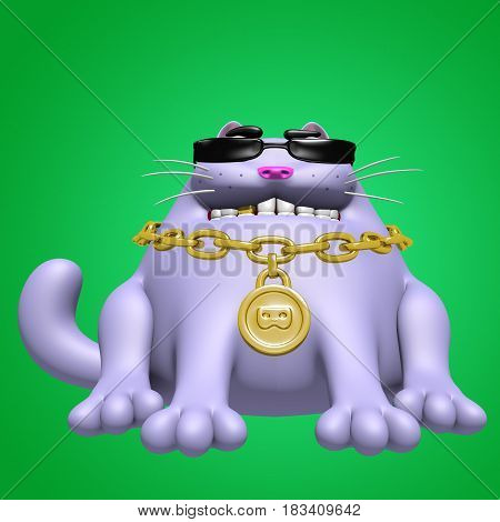 Cute fat cat in black glasses and golden medallion. 3D illustration. Funny cartoon character.