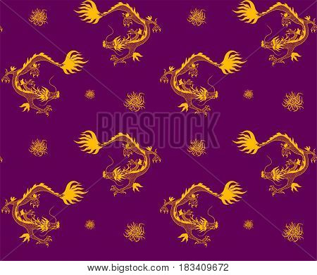 Oriental seamless pattern with golden dragons and chrysanthemum on violet background.