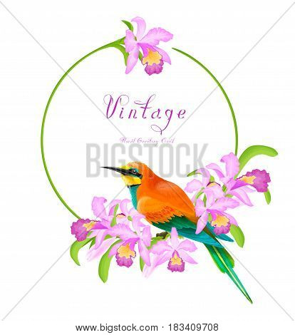 Tropical vintage greeting card with orchid flowers and beautiful bird in watercolor style.