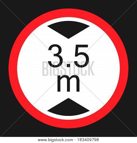 Limiting height prohibition flat icon, Traffic and road sign, vector graphics, a solid pattern on a black background, eps 10.